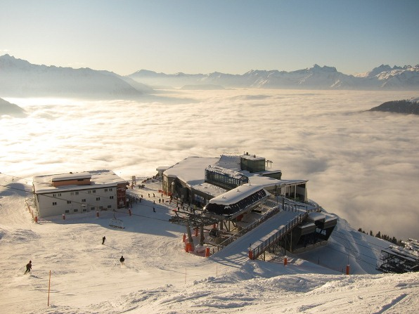 View of Les Ruinettes, above a sea of cloud