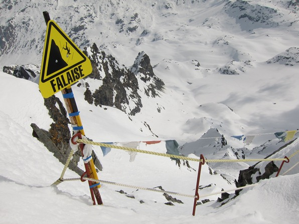 """Falaise"" sign to warn visitors of cliff at top of Mont Fort, Verbier"