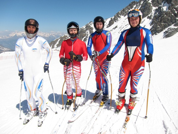Benja Hedley (3rd from left) with fellow British speed skiers