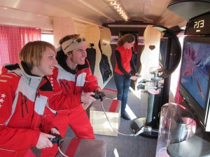 Kaspar Kälin and Nicole Oggier, ski instructors from Leukerbad, on the Valais snowtrain