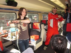 , ski instructor from Leukerbad, on the Valais Snowtrain