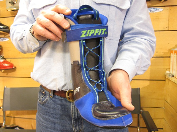 Nick Hammond holds a Zipfit boot liner, Mountain Air, Verbier