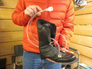 Nick Hammond holds a Strolz boot liner, Mountain Air, Verbier