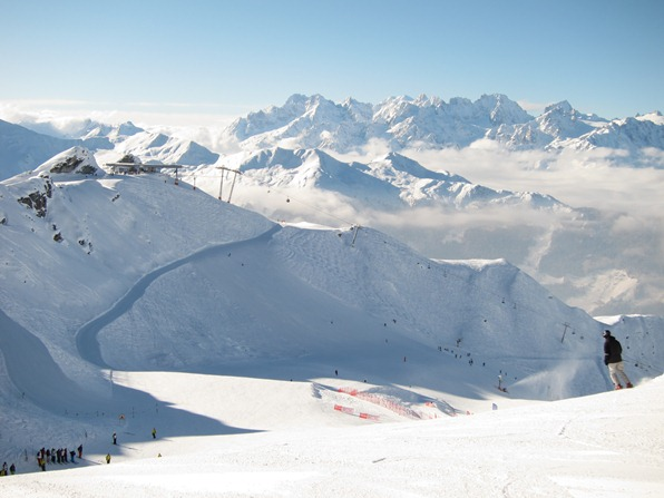 Verbier: View from the Attelas piste towards Fontanet and Mont Blanc