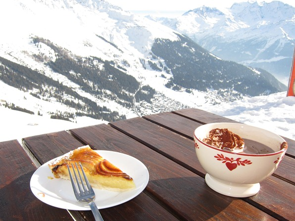 Hot chocolate and apple tart at the restaurant La Chotte de Grands Plans, Verbier