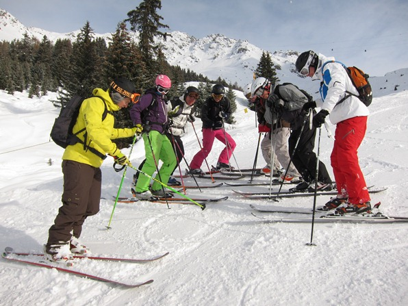 Instructor Charlie Tate (left) with trainee ski instructors, Verbier