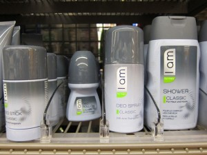 """I am"" line of toiletries on sale in Migros, Verbier"