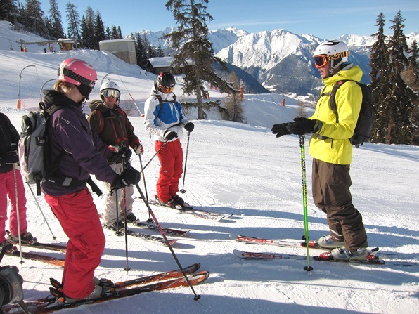 Tom Lewis (right) coaching would-be ski instructors in Verbier