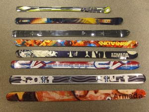 Skis from the 2009/2010 season at Ski Service, Verbier
