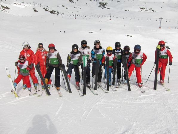 Students at the Swiss Ski School, Verbier, with their teachers (far left), Emmanuelle Luisier and Chloé Darbellay