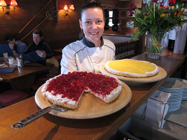 Laetitia Boumard, pastry chef at Chez Dany, with a raspberry tart and lemon tart