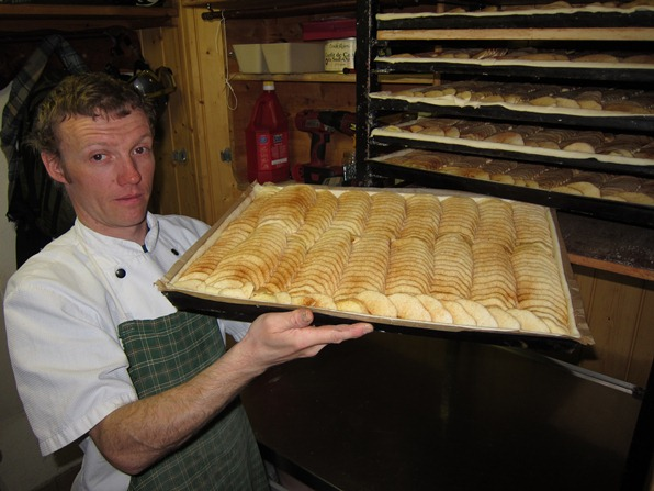 Bruno Diebold from Chez Simon, Verbiery, with the house apple tart
