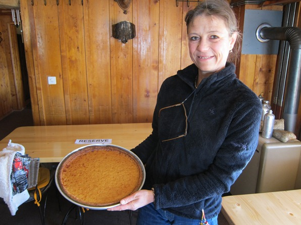Annick Margelisch of Le Namasté with one of her husband Jean-Lou's maple syrup tarts