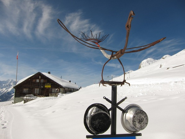 One of the sculptures at Le Namasté in Verbier made by the chef, Jean-Lou Margelisch