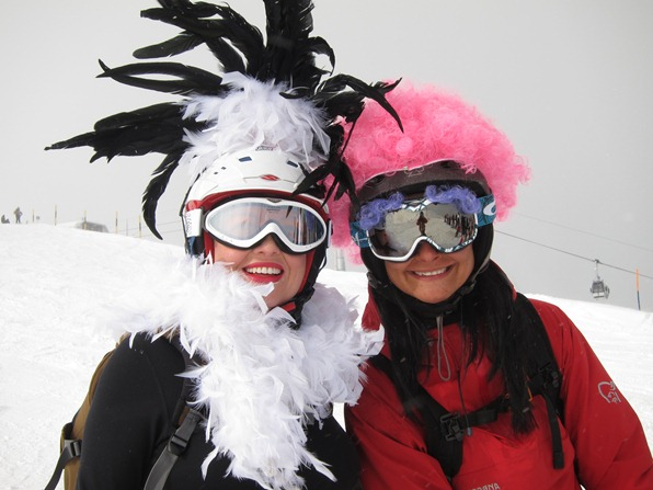 Students on the WSSA gap=year ski instructor course in Verbier celebrate Mardi Gras