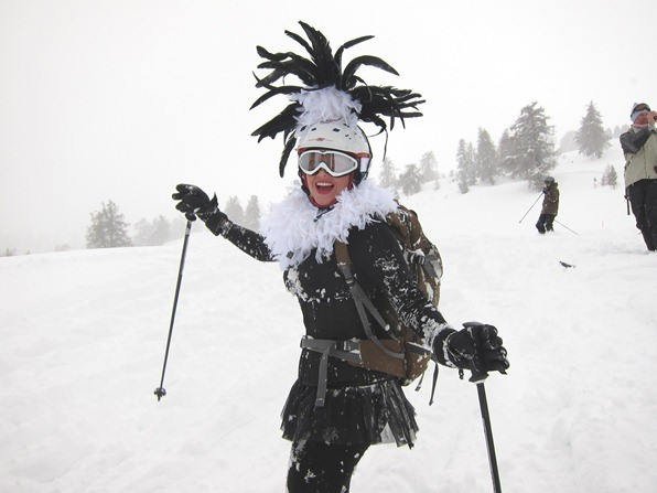 Laura, a student on the WSSA gap-year ski instructor course in Verbier, celebrate Mardi Gras