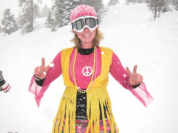 Becky, a student on the WSSA gap-year ski instructor course in Verbier, celebrates Mardi Gras in hippy-chick regalia
