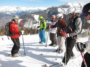 BASI coach Gherardo Gambaro training students on a WSSA gap-year ski-instructor course, Verbier