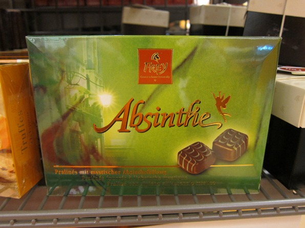 Box of absinthe chocolates on sale at Migros, Verbier