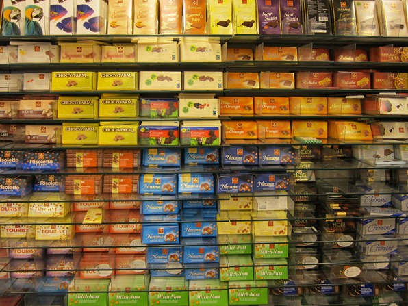 Chocolate bars on display at Migros, Verbier