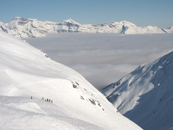 Verbier: looking out over the cloud-covered Rhone valley
