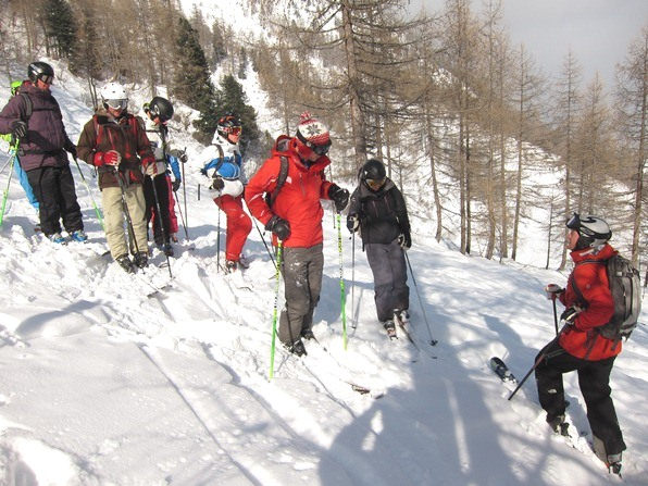Students on a WSSA gap-year ski instructor course with BASI trainer Gherardo Gambaro (right)