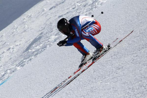 Benja Hedley on the speed skiing slope in Verbier
