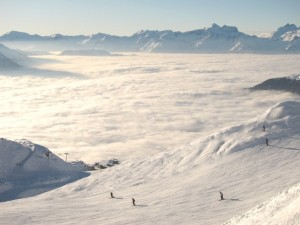 Verbier: looking out over Ruinettes and a sea of cloud