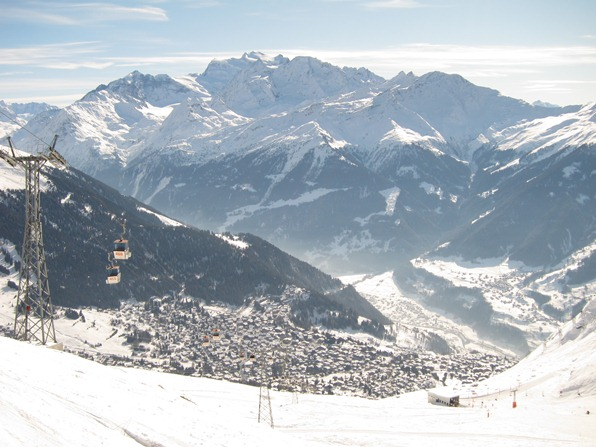 Looking towards Verbier from the Savoleyres pistes