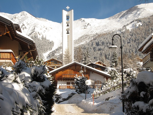 "Verbier, with Catholic church ""Station"""