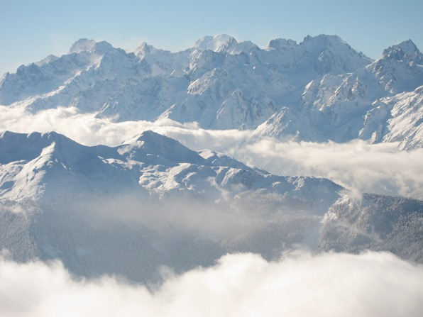 Verbier, looking out from Attleas towards Mont Blanc massif