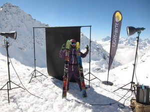 Competitor at Xtreme Verbier, Freeride World Tour, being photographed