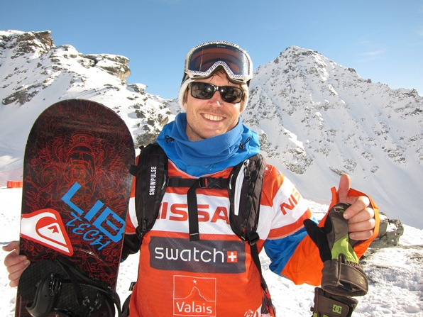 British Snowboarder James Stentiford after coming 3rd at Xtreme Verbier, Freeride World Tour