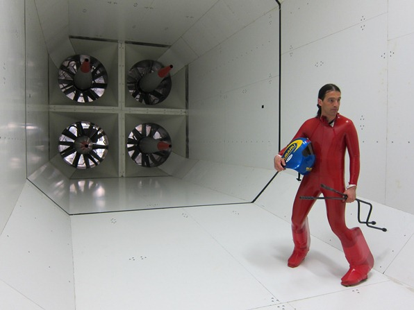 Philippe May by the turbines of the wind tunnel