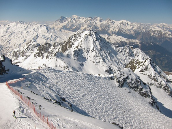 Looking from the top of the Mont Fort cable car towards Mont Blanc