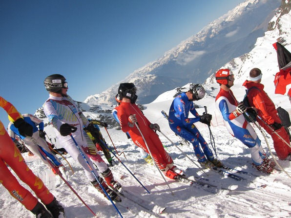 Competitors awaiting their turn for a speed skiing race, Verbier