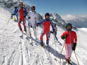 Members of the British speed skiing team