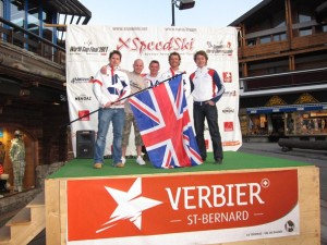 Members of the British speed skiing team in Verbier