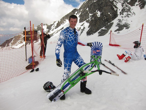 Corentin Desbois with his snowscoot, just after breaking the world record