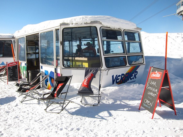 Cable-car cabin converted to outside bar at the igloo restaurant, Gentianes