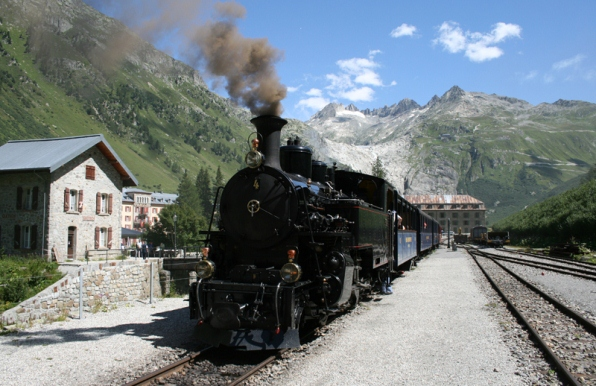 Train of the Furka Cogwheel Steam Railway at Gletsch