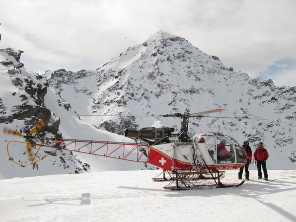 Rescue helicopter on standby at the Xtreme Verbier, final round of the Freeride World Tour