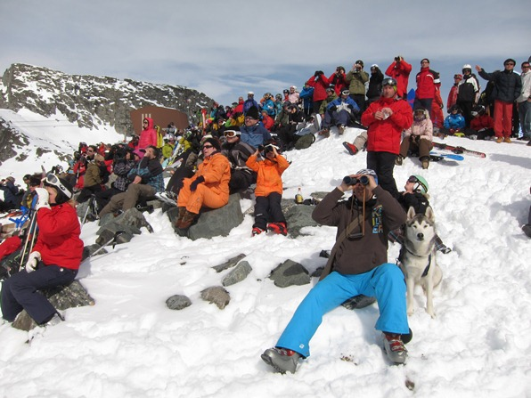 Spectators at the Xtreme Verbier, final round of the Freeride World Tour