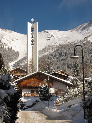 """Verbier, with Catholic church """"Station"""""""