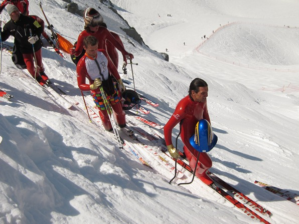 Racers prepare to compete on Verbier's speed skiing run