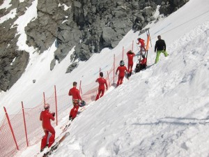 Speed skies prepare to compete on the Mont-Fort, Verbier