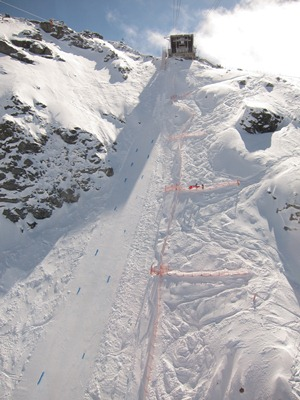 The speed skiing piste on the Glacier de Tortin, Mont-Fort