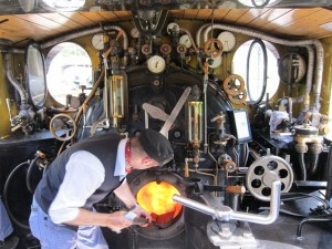 Inside a locomotive of the Furka Cogwheel Steam Railway. Photo by JB