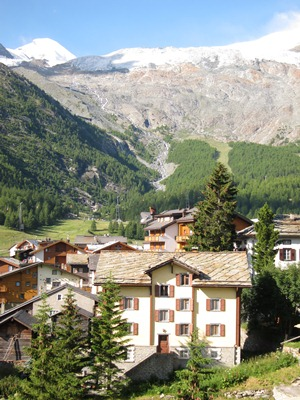 View from Saas-Fee towards the Fee Glacier