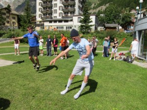 Warren Smith Ski Academy summer course in Saas-Fee: dry-land exercises in front of the hotel